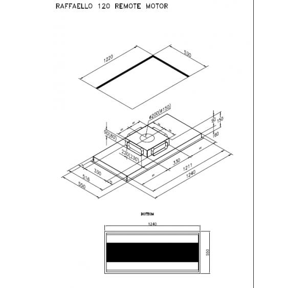 RAFFAELO stropna napa z zunanjim motorjem AMR09
